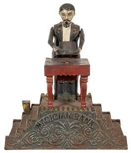 Magician Mechanical Bank. J.E. Stevens, patented Jan.