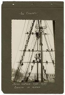 Photograph of sailor's exercises, 1936-37. Silver