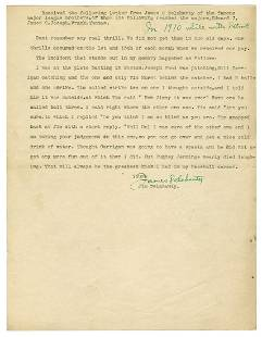 [BASEBALL]. DELAHANTY, James (1879-1953). Signed typed