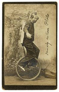 [CIRCUS]. Cabinet Photo of a Clown Unicyclist. N.p.,