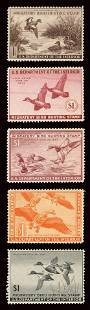 RW9-13 Duck Hunting Stamps. Group of 5 Federal duck