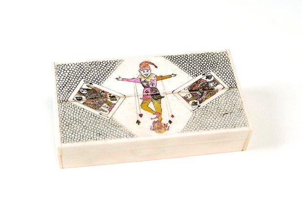 Miniature ivory/bone playing card set - 2