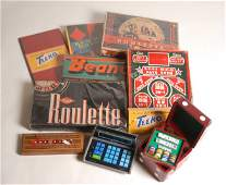 Group of nine vintage home gambling and board game