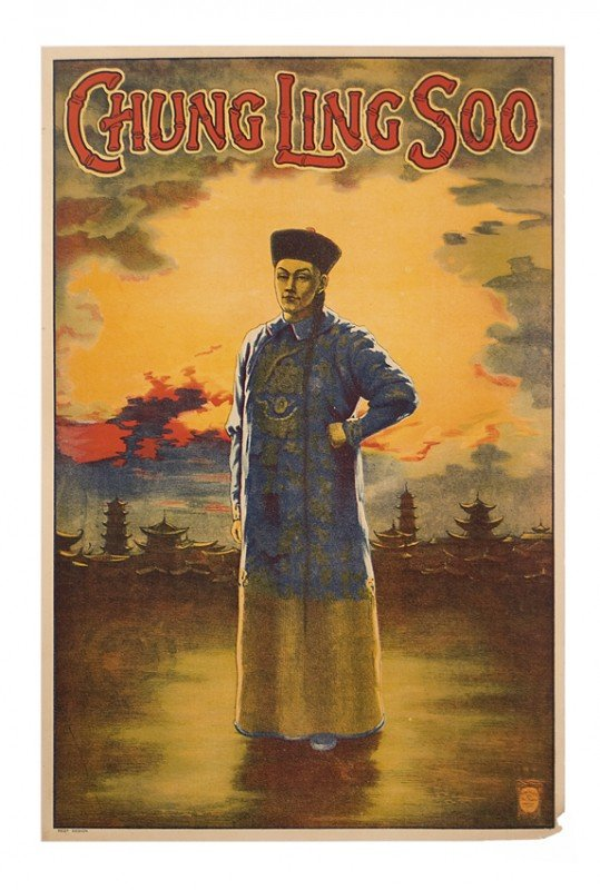 18: Chung Ling Soo portrait w/sunset. Full color litho.
