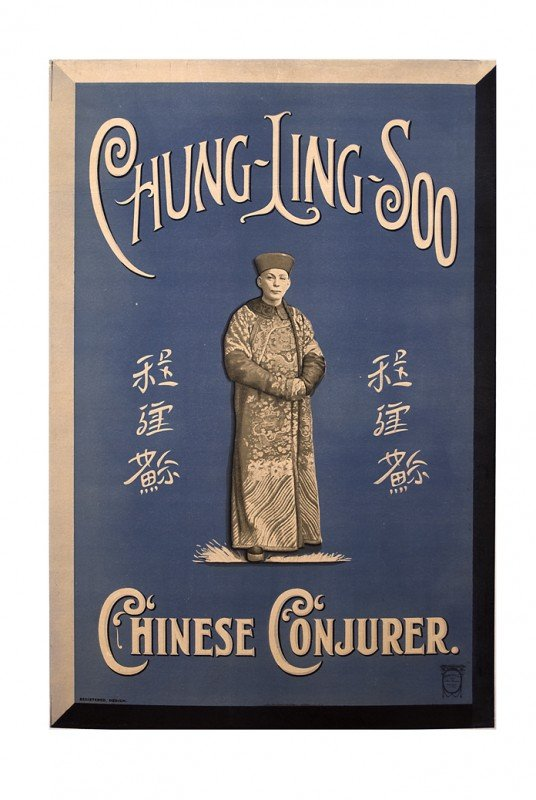 22: Chung Ling Soo. Chinese Conjurer Blue/white ca 1910