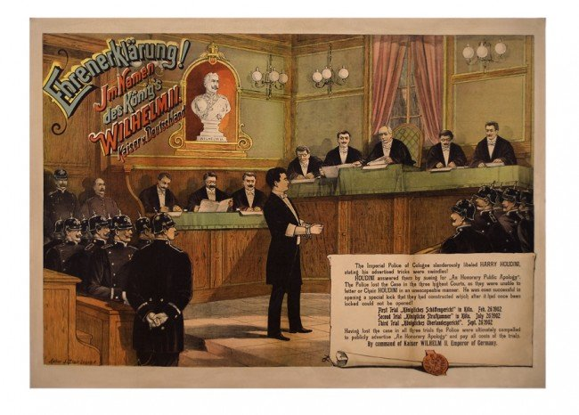 37: Houdini. 1902 full color litho poster.  Early/rare