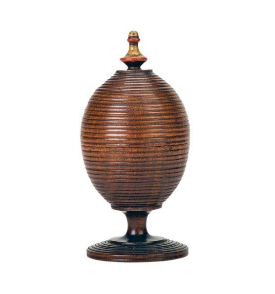 4: Ball Vase. European ca. 1900. Finely turned mahogany