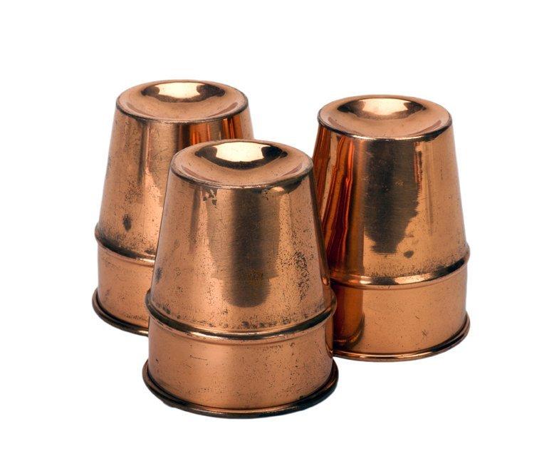 "20: Copper Cups. American, ca. 1960. ""Stubby"" design."