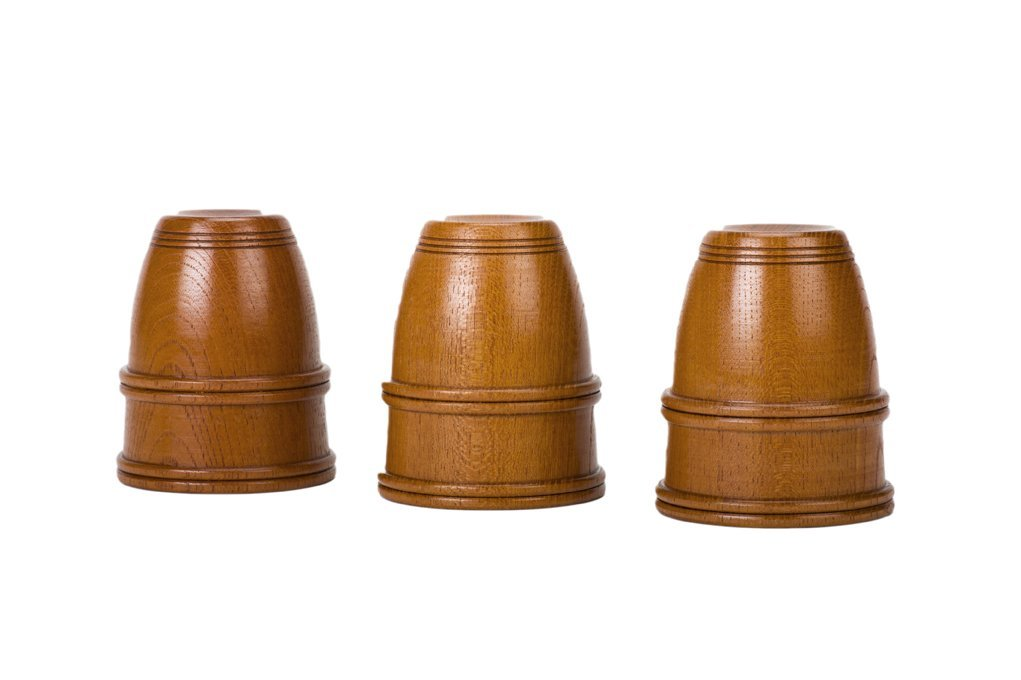 """21: Wooden Cups. Japan, Mikame Craft. """"Chopped"""" Set."""
