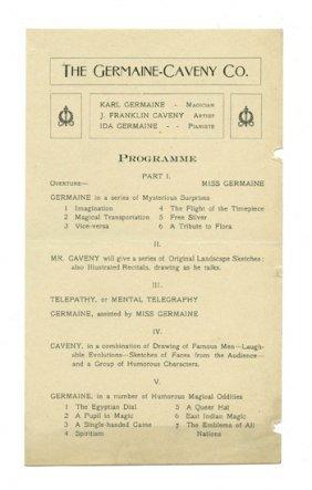 Germain, Karl. Germaine-Caveny Co. Handbill. 1900.