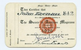 Houdini 1926 S.A.M. Membership Card Boldly Signed