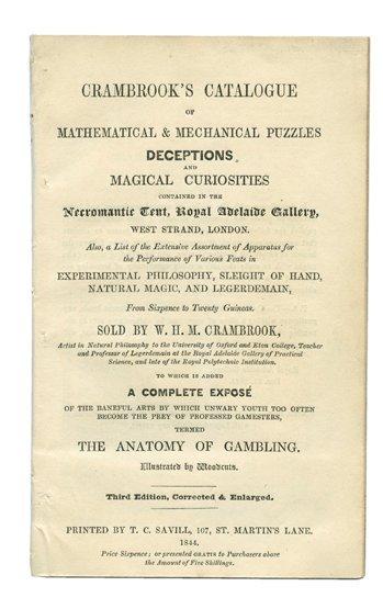 171: W.H.M. Crambrook's Catalogue of magic. London 1844
