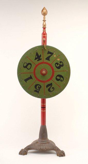 337: Gambling wheel. American, ca. 1900. Hand painted,