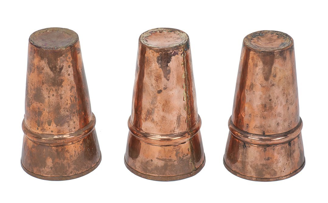 13: 3 Large Copper Cups. Set hand-hammered and formed