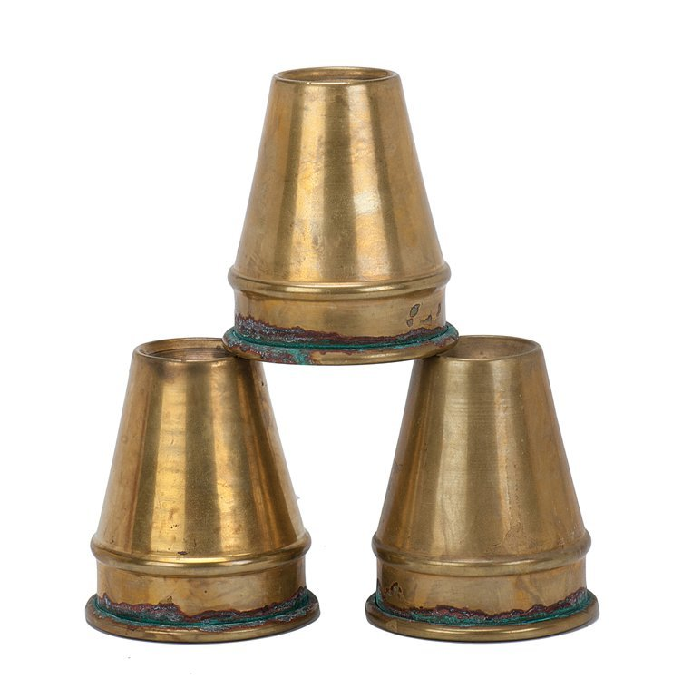 14: Cups and Balls. Early set of three spun brass cups
