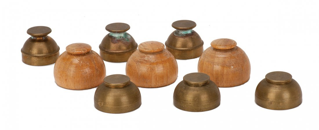 16: Three sets of miniature Indian Cups. 2 brass 1 wood