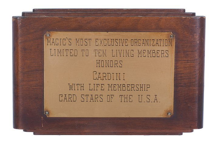 Cardini's Card Stars of the U.S.A. plaque.