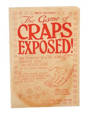 """Gannon, E.J. """"Faro."""" The Game of Craps Exposed. 1922"""