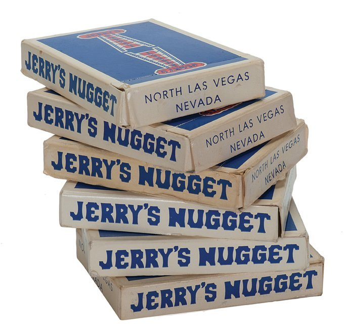 Jerry's Nugget playing cards, six decks. Five blue-back