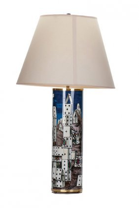 """Piero Fornasetti (1913–1988) """"House of Cards"""" Lamp."""