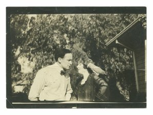 Candid photograph of Harry and Bess Houdini
