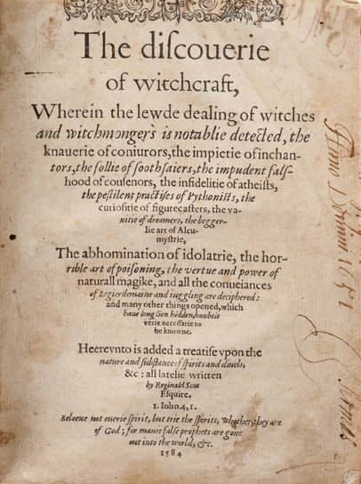 Scot, Reginald. The Discoverie of Witchcraft. 1st edn.