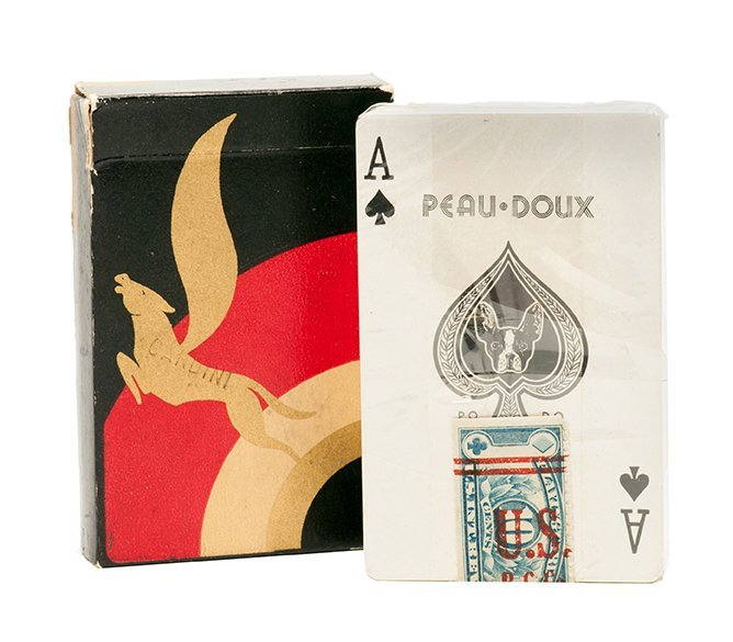 Cardini's gold Peau Doux playing cards.
