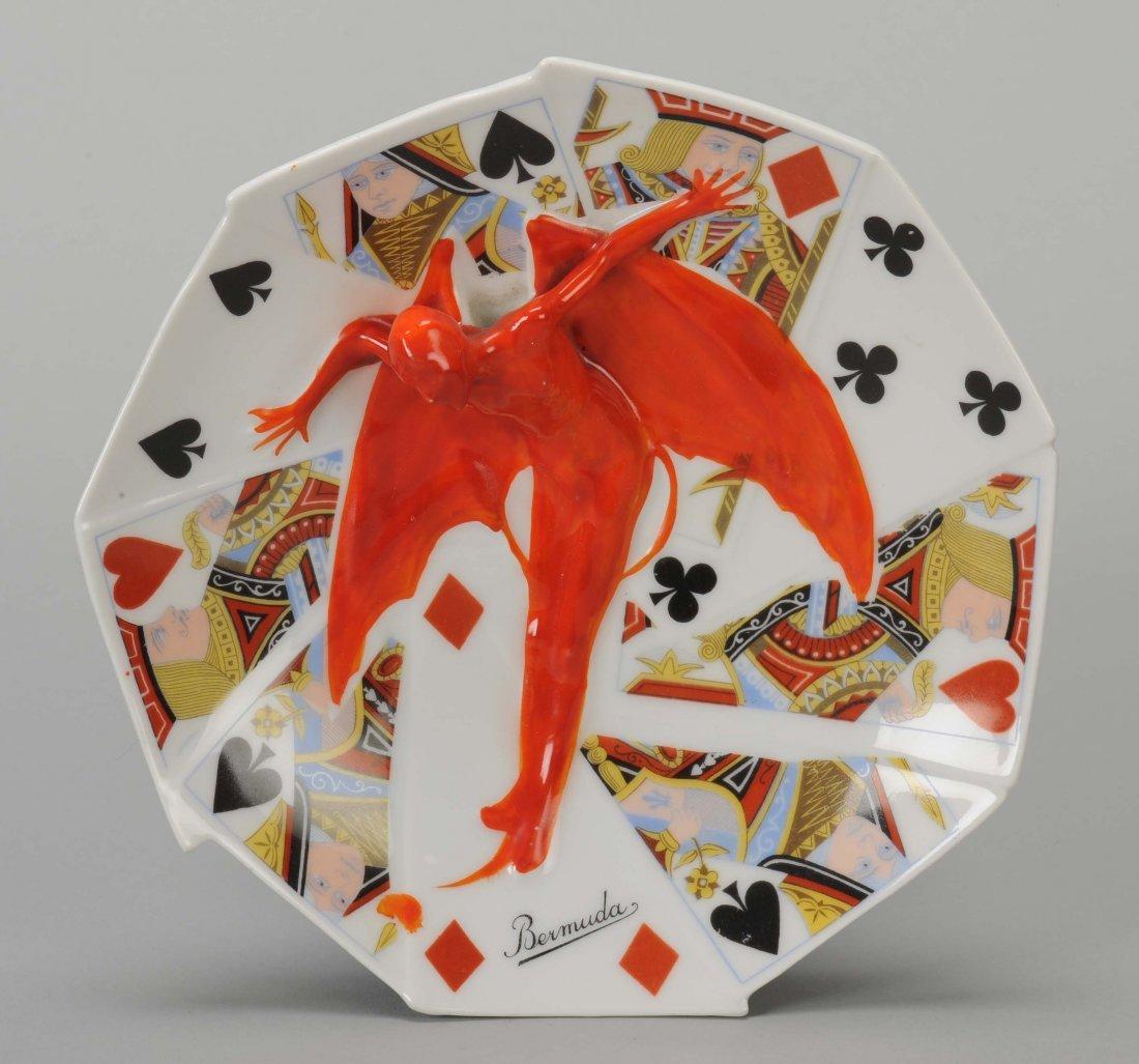 Candy Dish, Devil & Card, Royal Bayreuth. Bayreuth,