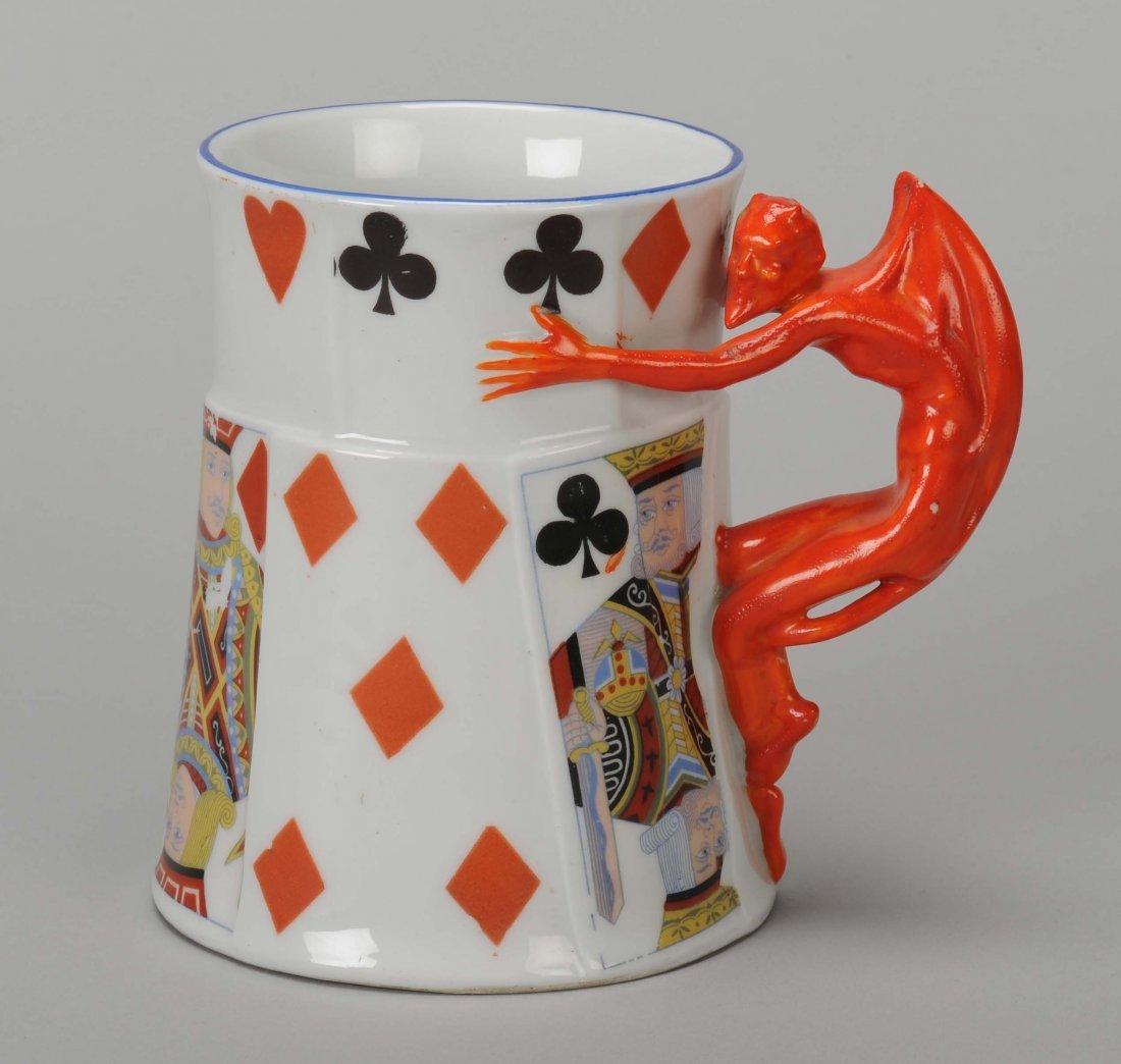 Beer Mug, Devil & Card, Royal Bayreuth. Bayreuth,