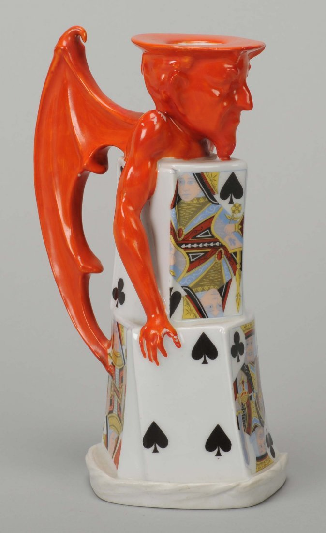 Candle Stick Holder (Tall Size), Devil & Card, Wing