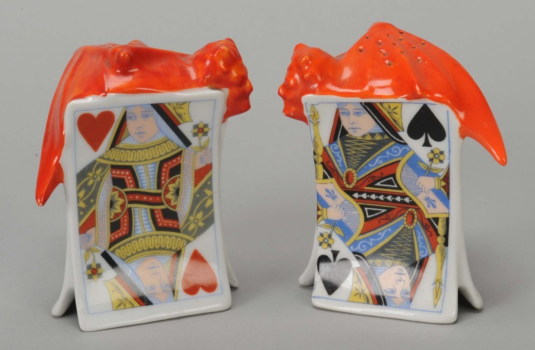 Pair of Salt & Pepper Shakers, Devil & Card, Royal