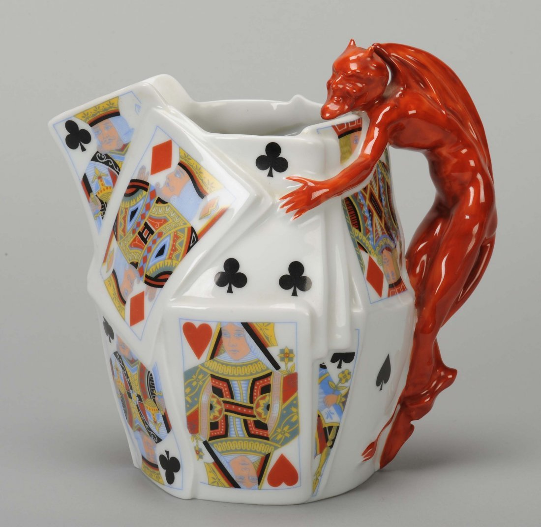 Water Pitcher, Devil & Card, Royal Bayreuth. Bayreuth,