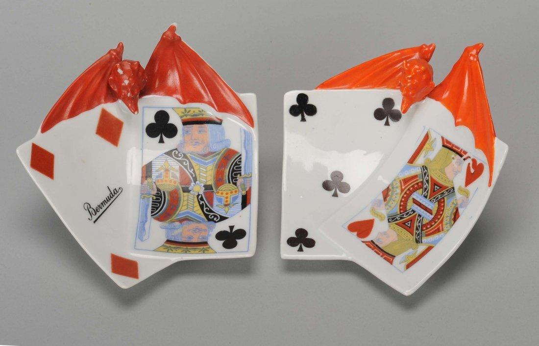 Two Ashtrays, Devil & Card, Royal Bayreuth. Bayreuth,
