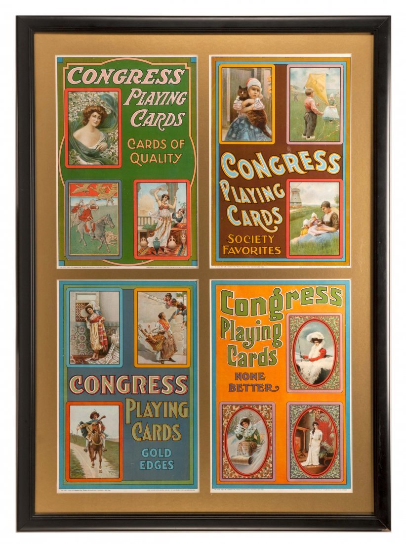 Four Congress Playing Card lithographed advertisements.