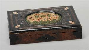 Fine Hand Carved Pebbled Wood Game Box English ca