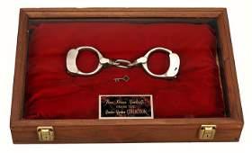 Houdini Regulation Bean Prison Handcuffs. w/provenance.