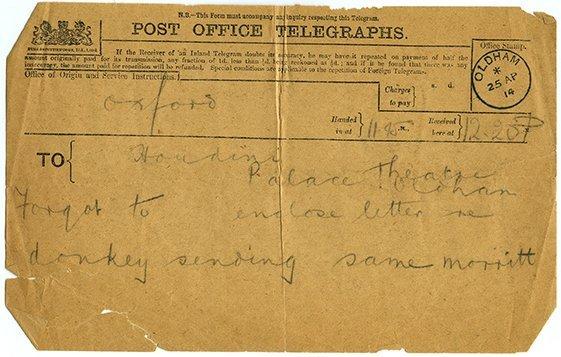 Three telegrams from Charles Morritt to Houdini. 1914.