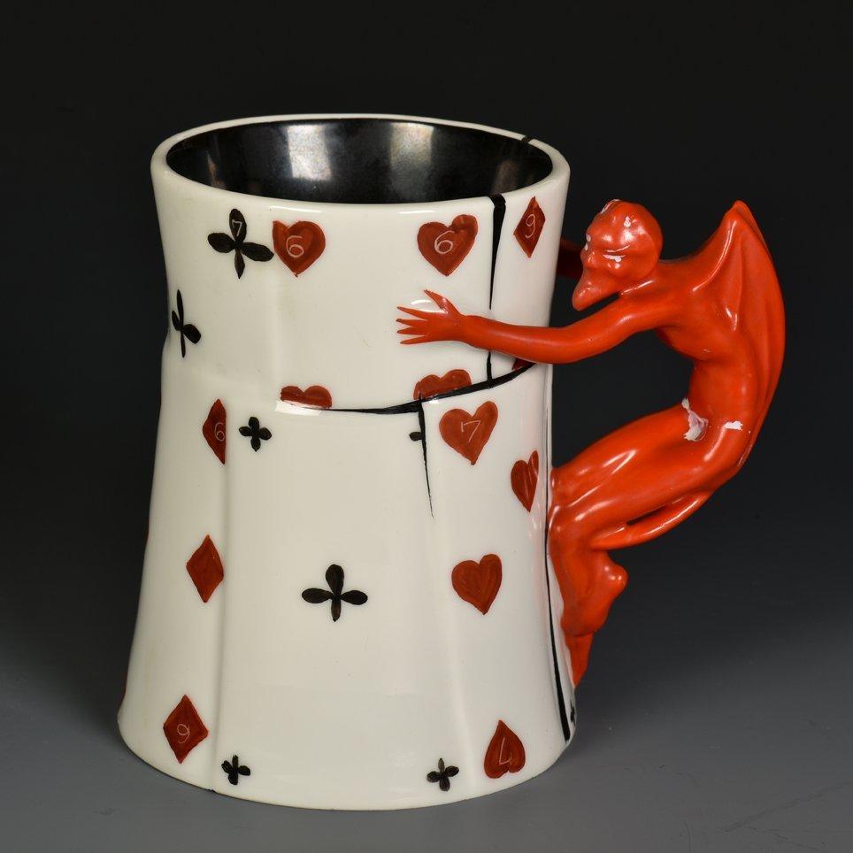 Devil & Card Beer Mug. Bayreuth, Bavaria: Royal