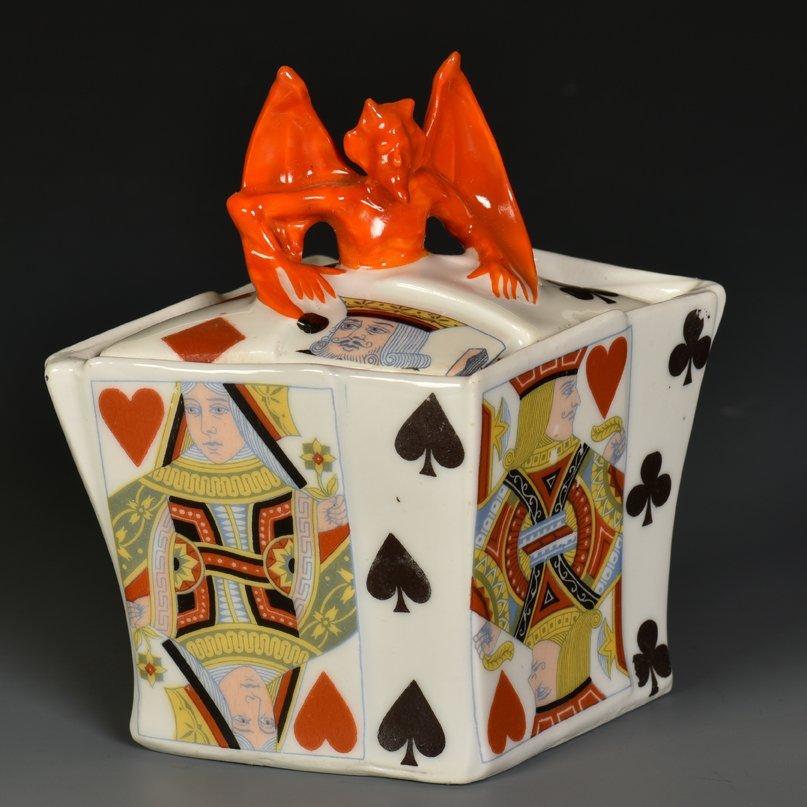 Devil & Card Sugar with Lid. Bayreuth, Bavaria: Royal