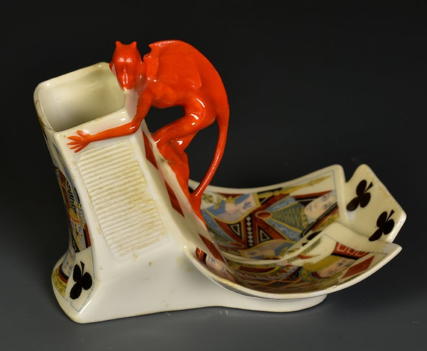 Devil & Card Match Holder with Attached Ashtray.