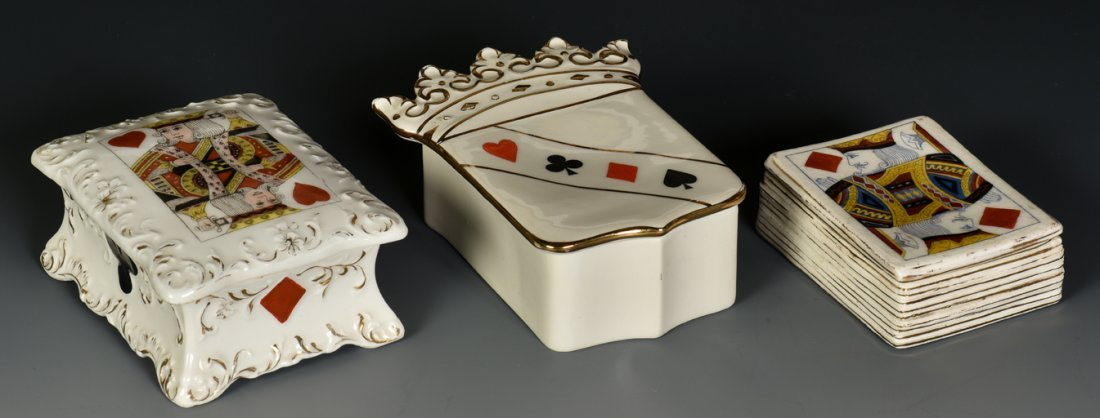 Three Porcelain Card Boxes. 1) Maker unknown, ca. 1900.