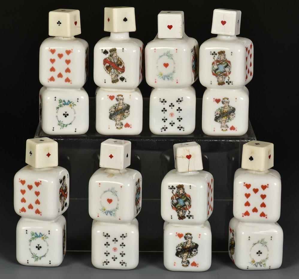 Eight Miniature Porcelain Liquor Decanters. French, ca.