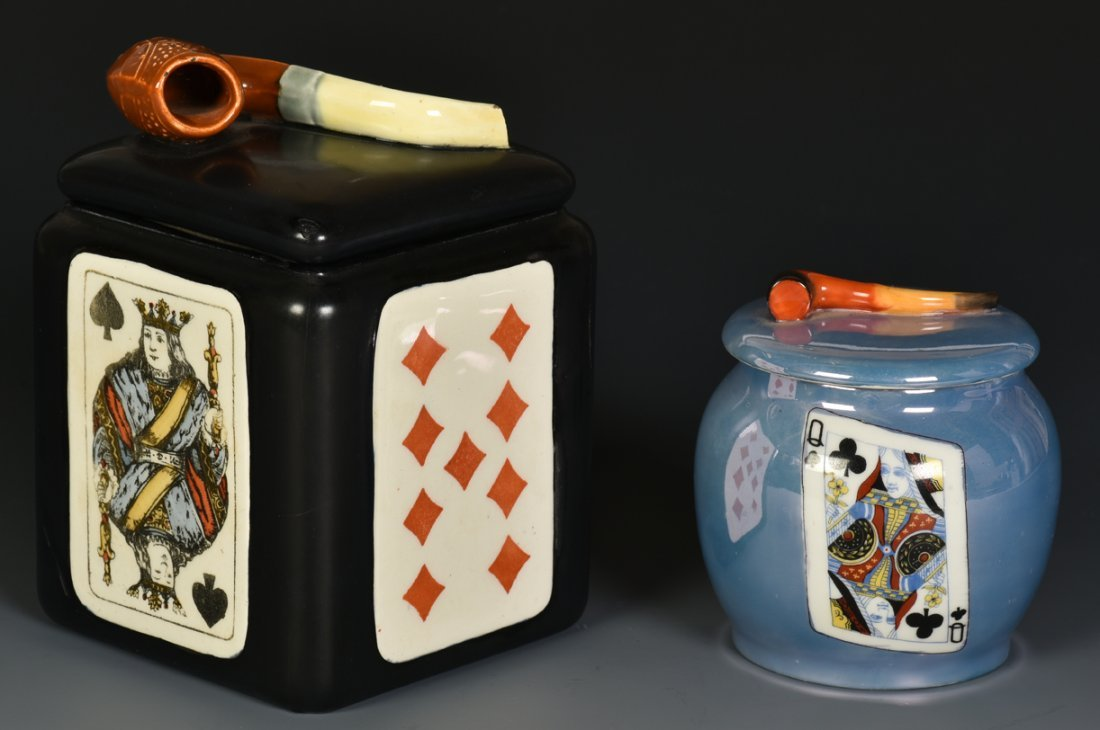 Two Humidors with Playing Cards. 1) Humidor with lid.