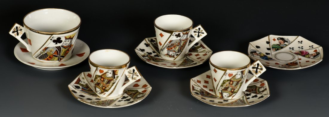 Group of Three Demitasse Cups, a Coffee Cup, Five