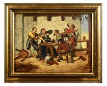 Oil Painting Depicting Seventeenth Century Brawl Over