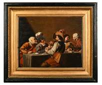 Oil Painting Depicting Seventeenth Century Card Game in