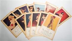 602 Twelve Vintage PinUp Calendars Various