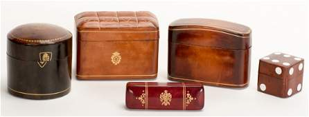 . Five Leather Cases for Playing Cards, Dice, and