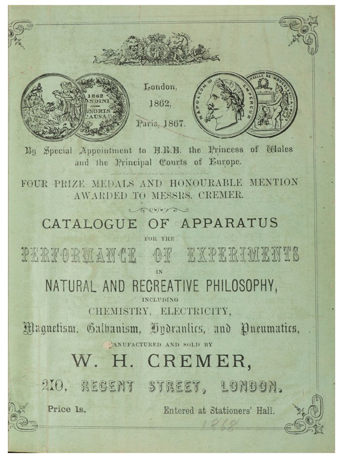 Cremer, W.H. Catalogue of Apparatus for the Performance