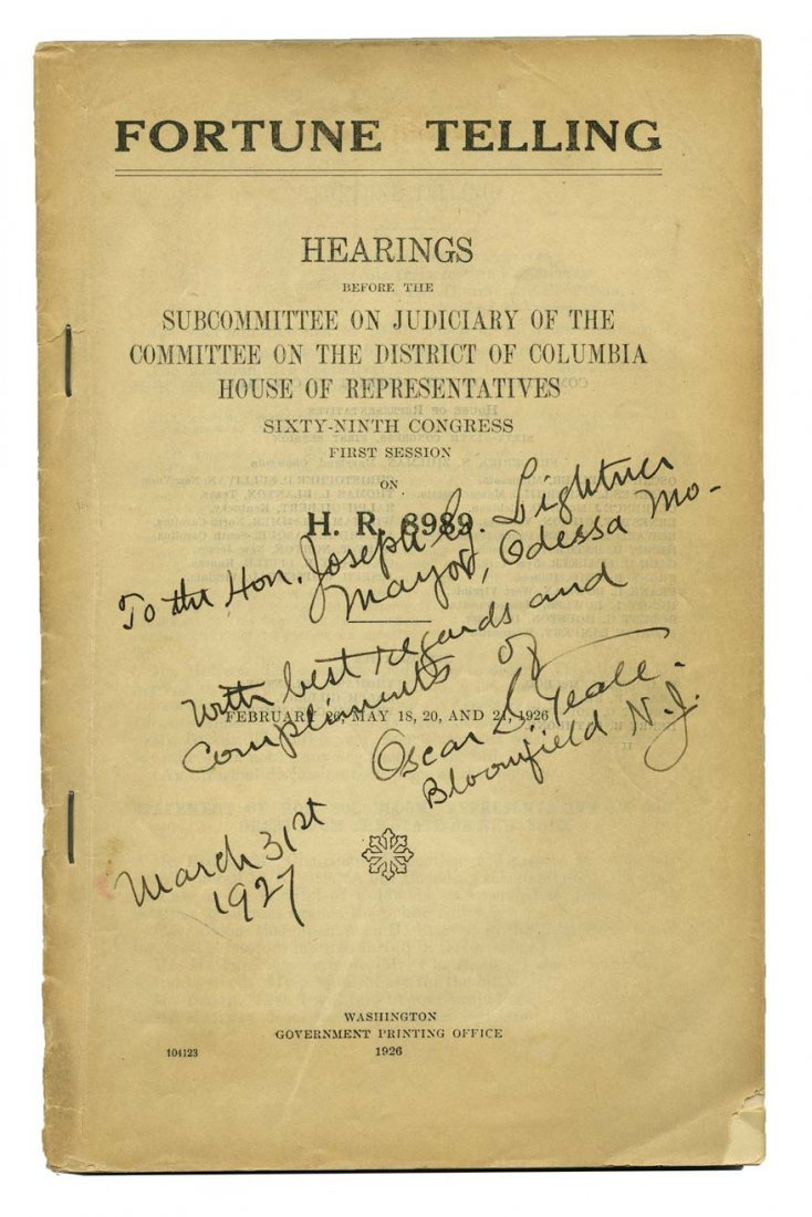 Fortune Telling: Hearings Before the Subcommittee on